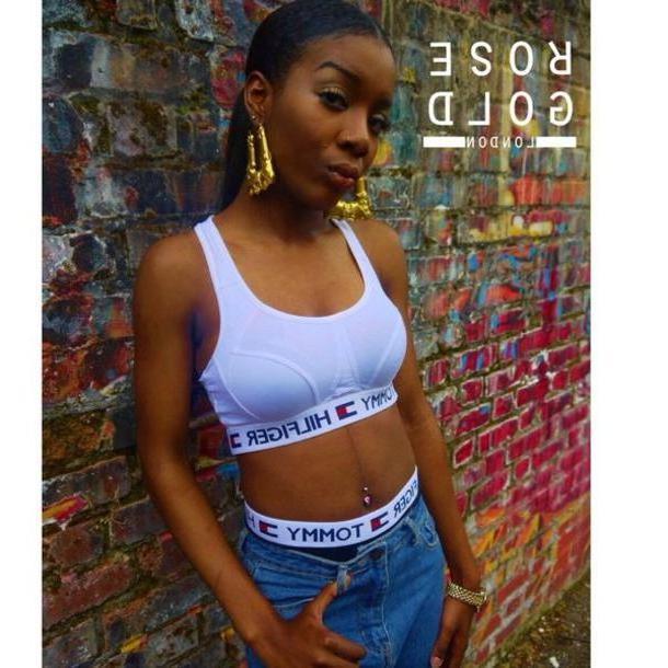 Sports-bra Underwear White Rose Gold London Sports Bra Sportswear   S Style Streetwear Belly Button Ring Urban cover image