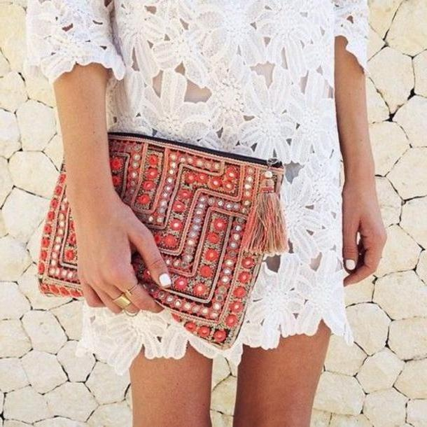 Floral Dress White Clutch Dress Lace White Floral Boho Coachella Fashion Hippie Embellished Pouch White Crochet Dress Crochet Dress Cocktail Dress Summer Dress Spring Dress Mai Pouch cover image