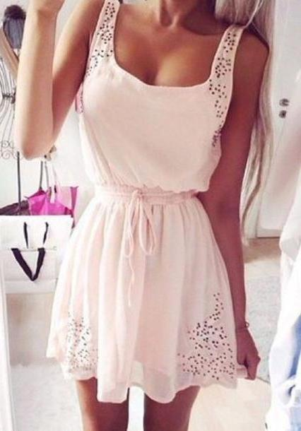 Floral Dress Pink Dress Pink Outfit Floral Pink Dress Boho Dress Short Dress Skater Dress Cute Outfits Light Pink Flowy Dress cover image
