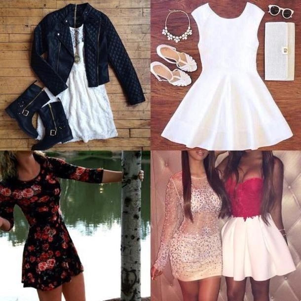 Floral Dress White Dress White Dress Black Dress Floral Dress Leather Jacket Shoes Boots Heels Classy Dress Style cover image