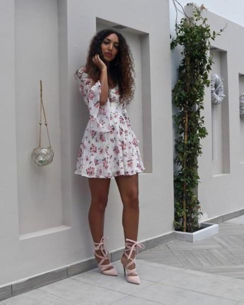 Floral Dress White Hats Heels Blogger Dress Shoes Mini Dress Floral Dress Short Dress Summer Dress Summer Outfits Sandals Sandal Heels High Heel Sandals Blush Pink Sandals Lace Heels Bell Sleeves cover image