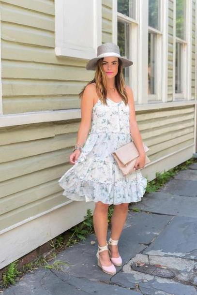 Floral Dress White Live Beautifully Blogger Hat Bag Jewels Make Anthropologie Janessa Leone Tory Burch Michael Kors Watch White Dress Summer Dress Wedges Lace Heels Floral Dress Pouch Nude Bag Grey H cover image