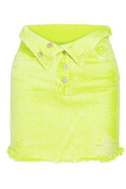 AMIRI - Fold-over Distressed Denim Mini Skirt - Yellow cover image
