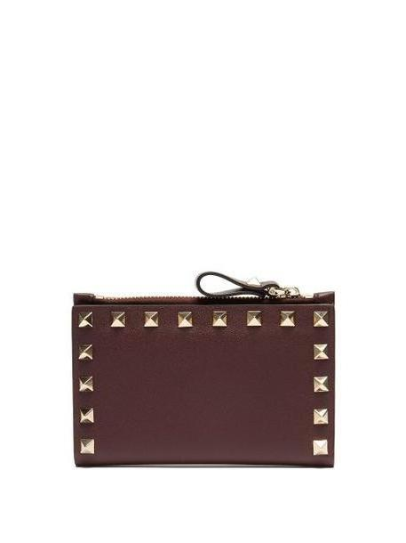 Valentino - Rockstud Leather Card And Coin Purse - Womens - Burgundy cover image
