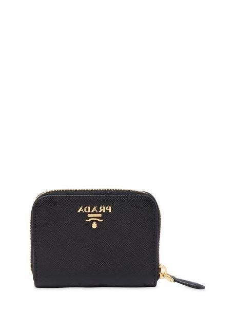 PRADA Small Saffiano Leather Coin Purse in black cover image