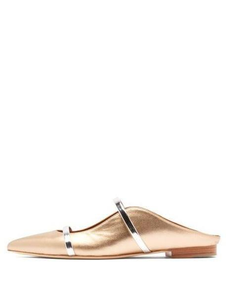 Malone Souliers - Maureen Backless Leather Flats - Womens - Gold cover image