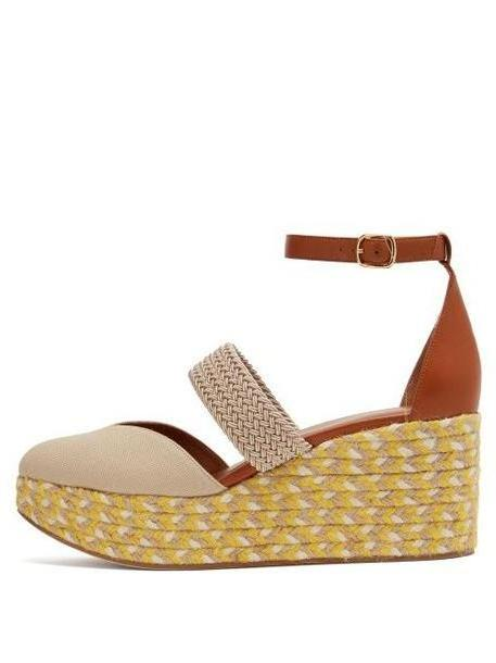 Malone Souliers - Sasha Canvas Espadrille Wedges - Womens - Beige Multi cover image