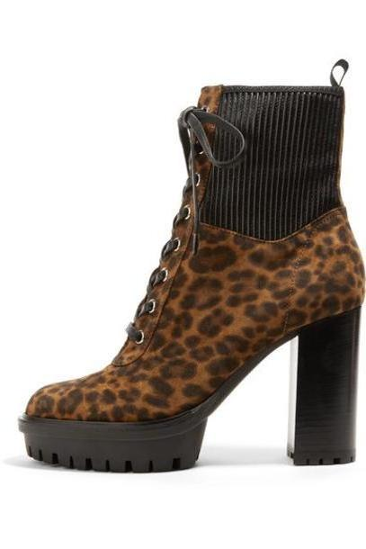 Gianvito Rossi - 90 Leather-paneled Leopard-print Suede Ankle Boots - Leopard print cover image