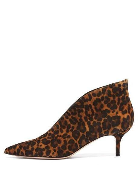 Gianvito Rossi - Vania 55 Leopard Print Suede Ankle Boots - Womens - Leopard cover image