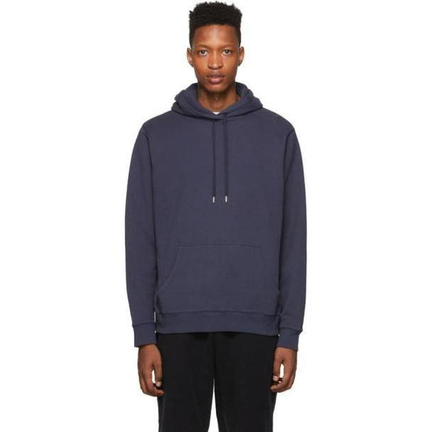 Sunspel Navy Cotton Loopback Overhead Hoodie cover image