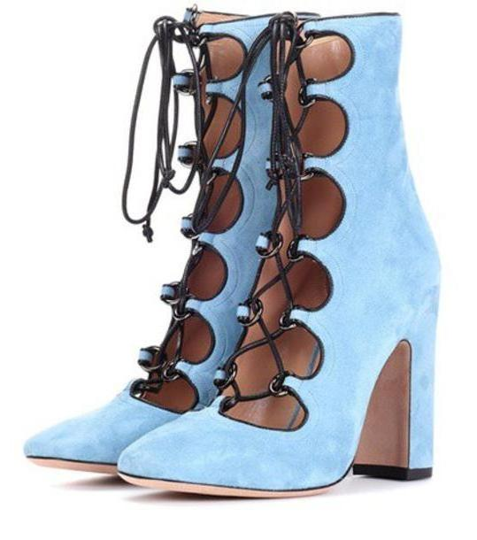 Valentino Garavani suede ankle boots in blue cover image