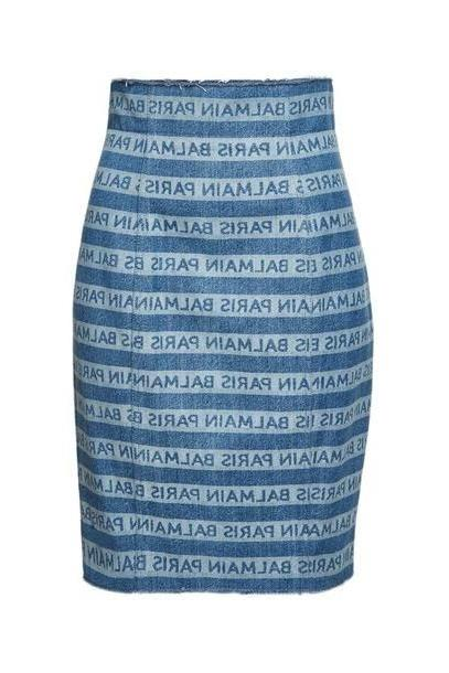 Balmain High Waist Denim Skirt cover image