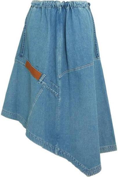 Loewe - Asymmetric Leather-trimmed Denim Midi Skirt - Indigo cover image