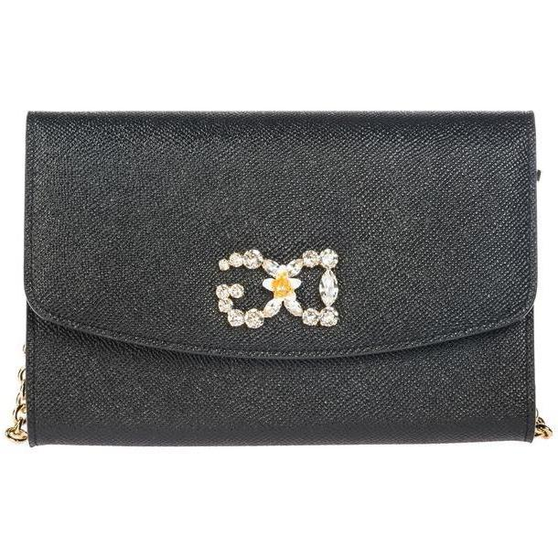 Dolce & Gabbana Women's Leather Clutch With Shoulder Strap Handbag Bag Purse in nero cover image