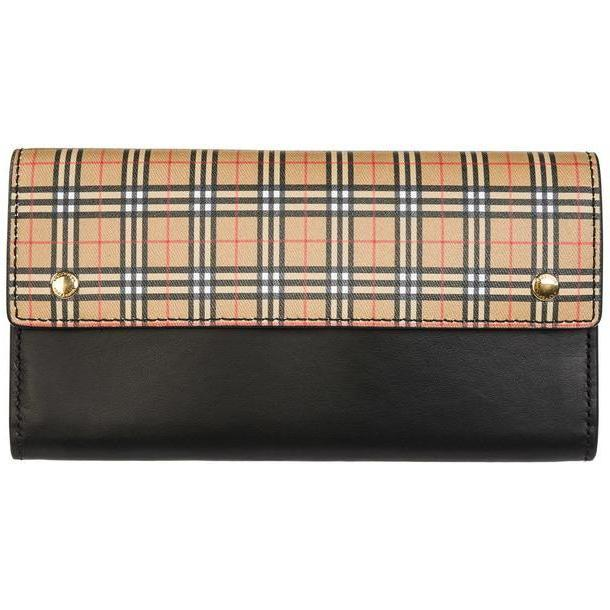 Burberry Women's Wallet Genuine Leather Coin Case Holder Purse Card Bifold Harris in nero cover image