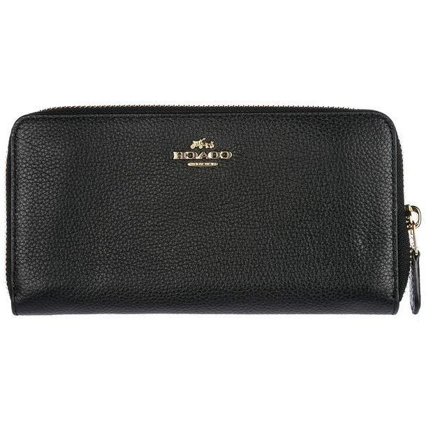 Coach Women's Wallet Genuine Leather Coin Case Holder Purse Card Bifold in nero cover image