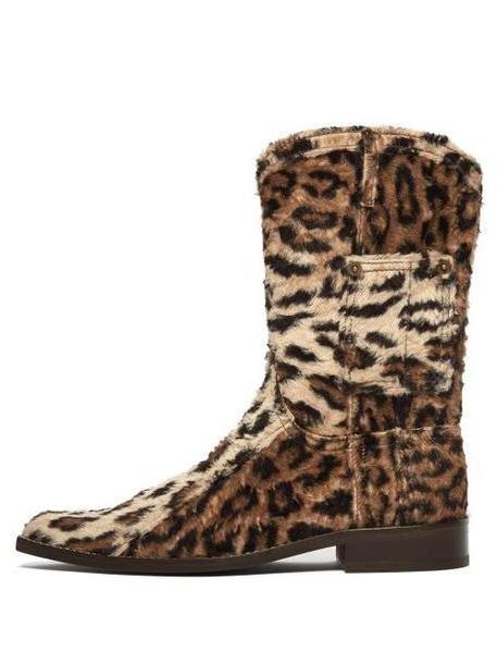 Martine Rose - Leopard Print Shearling Western Boots - Womens - Leopard cover image