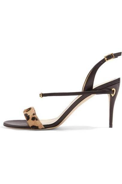 Jennifer Chamandi - Tommaso Leopard-print Calf Hair And Leather Slingback Sandals - Leopard print cover image