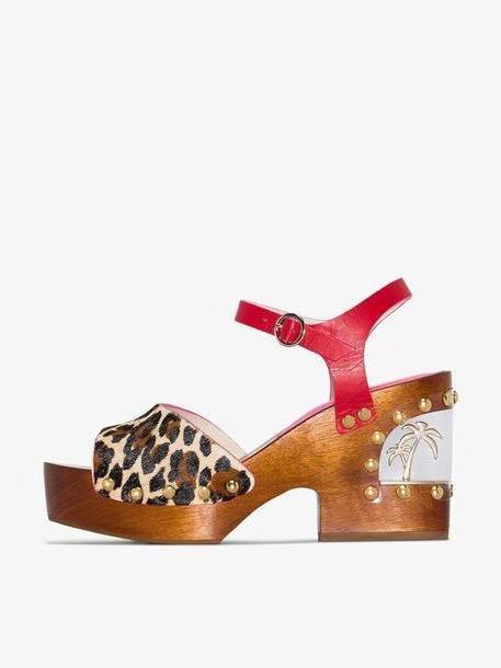 Sophia Webster Brown Paradise 95 leopard print wedge sandals cover image