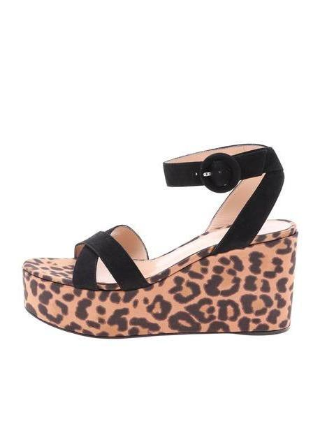 Gianvito Rossi Leopard Print Wedge Sandals cover image