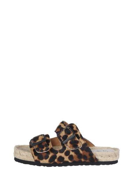 Manebi Leopard Leather Sandals cover image