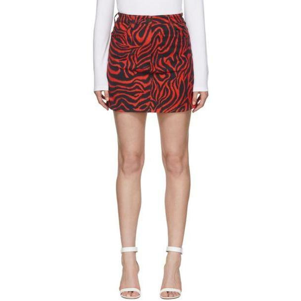Calvin Klein 205W39NYC Black & Red Denim Zebra Skirt cover image