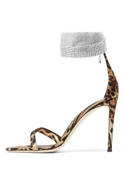 Giuseppe Zanotti - Swarovski Crystal-embellished Leopard-print Satin Sandals - Leopard print cover image