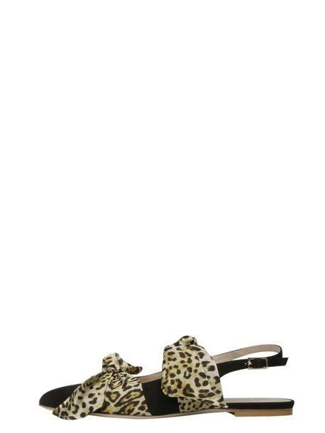 Gia Couture Eva Ballerina Flat Sandals in black / white / print / leopard cover image