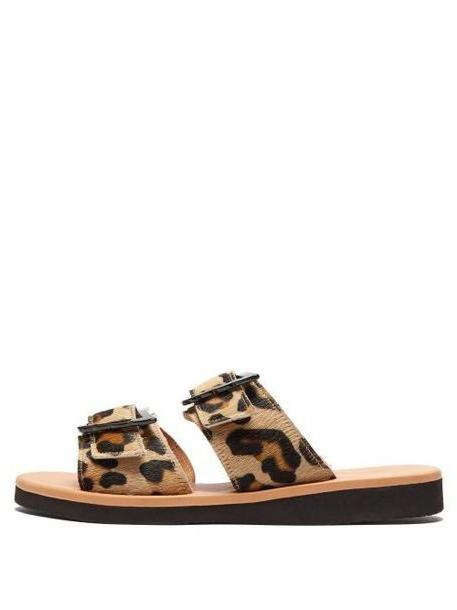 Ancient Greek Sandals - Iaso Buckled Leopard Print Calf Hair Slides - Womens - Leopard cover image