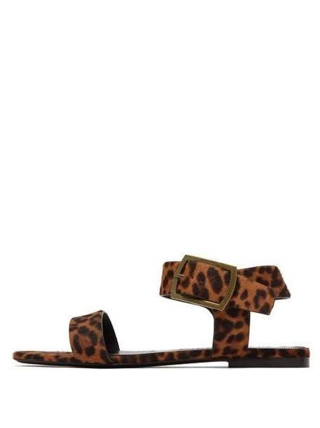 Saint Laurent - Oak Leopard Printed Calf Hair Sandals - Womens - Leopard cover image