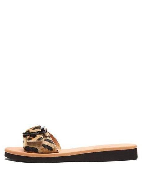 Ancient Greek Sandals - Aglaia Leopard Print Leather Slides - Womens - Leopard cover image