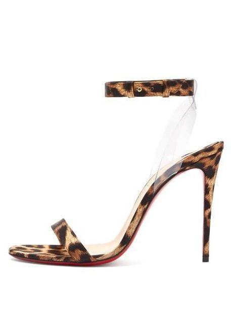 Christian Louboutin - Jonatina 100 Leopard Print Satin Sandals - Womens - Leopard cover image