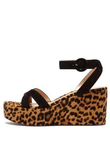 Gianvito Rossi - Leopard Print Calf Hair Platform Sandals - Womens - Leopard cover image