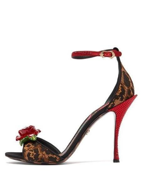 Dolce & Gabbana - Leopard And Rose Cross Stitch And Crystal Sandals - Womens - Leopard cover image