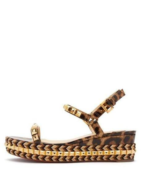Christian Louboutin - Cataclou 60 Leather Flatform Espadrille Sandals - Womens - Leopard cover image