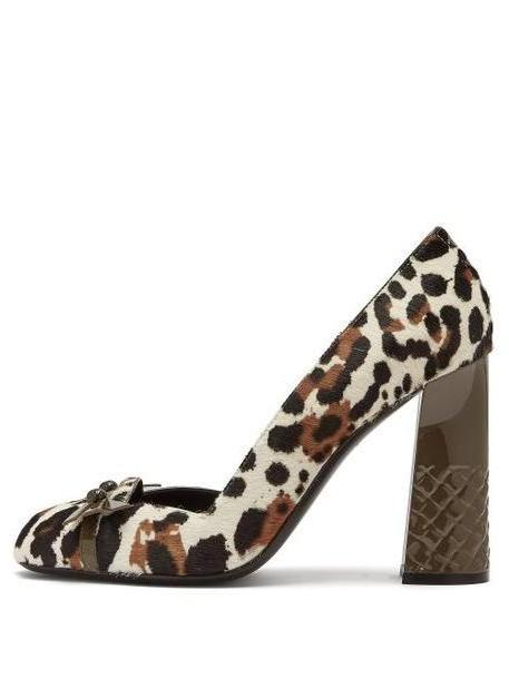 Bottega Veneta - Topette Leopard Print Calf Hair Pumps - Womens - Leopard cover image