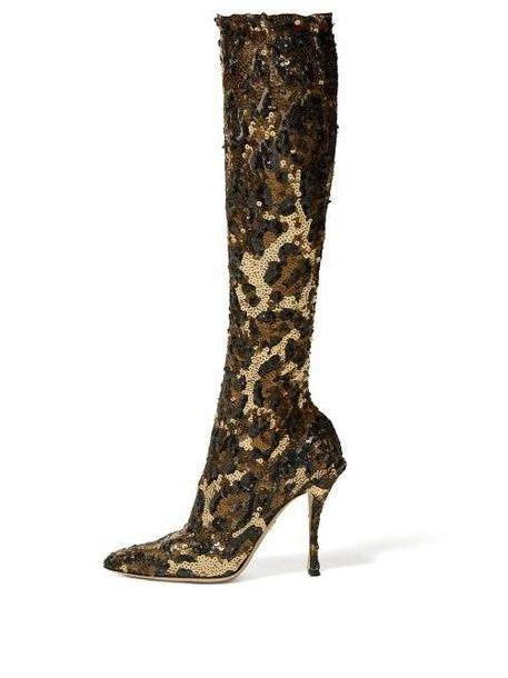 Dolce & Gabbana - Leopard Sequinned Knee High Boots - Womens - Leopard cover image