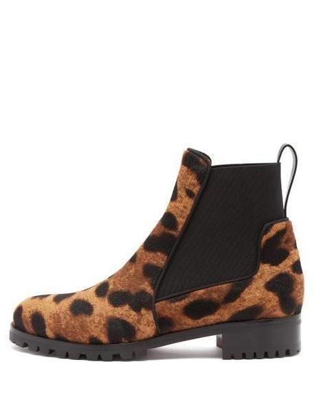 Christian Louboutin - Marchacroche Leopard Print Calf Hair Ankle Boots - Womens - Leopard cover image