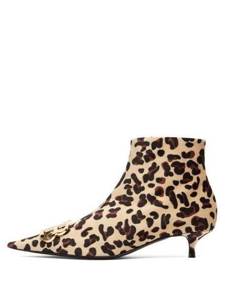 Balenciaga - Leopard Velvet Bb Ankle Boots - Womens - Leopard cover image