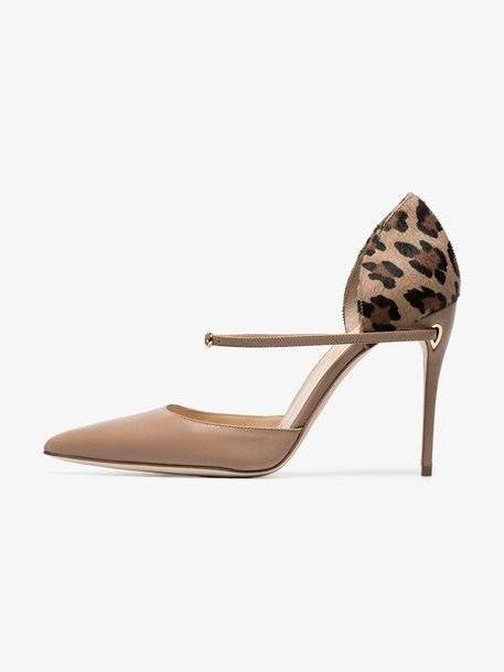 Jennifer Chamandi beige and leopard Eric 105 leather pumps cover image