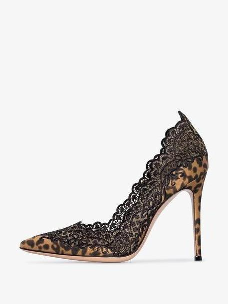 Gianvito Rossi black 105 leopard-print lace trimmed pumps cover image