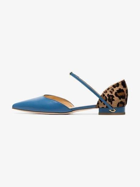 Jennifer Chamandi sky blue Eric leopard print leather pumps cover image