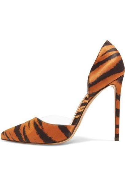 Alexandre Vauthier - Angelina Tiger-print Satin And Pvc Pumps - Leopard print cover image