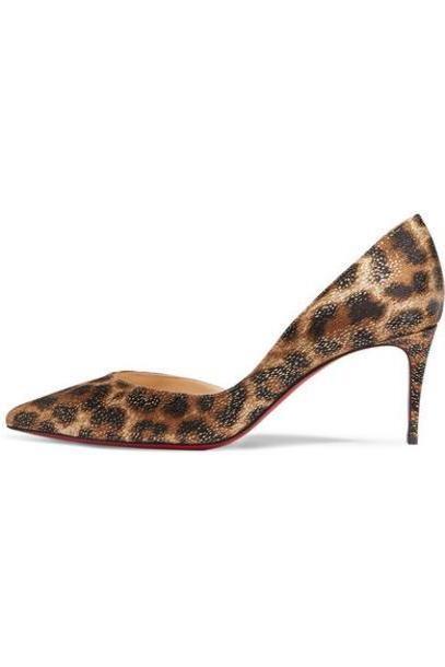 Christian Louboutin - Iriza 70 Metallic Leopard-print Satin Pumps - Leopard print cover image