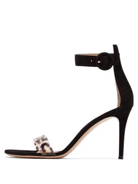 Gianvito Rossi - Stella 85 Leopard Plexi And Suede Sandals - Womens - Leopard cover image