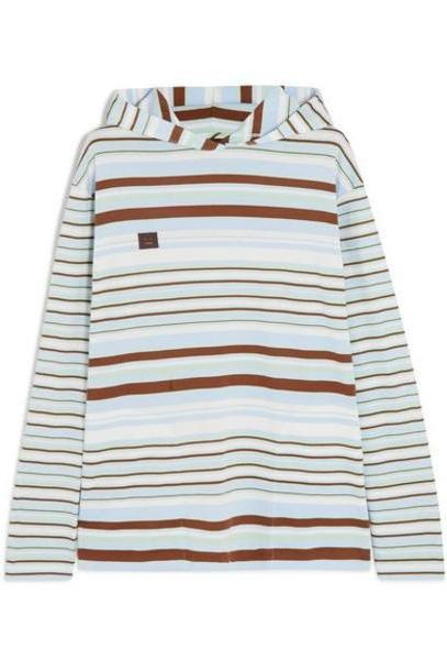 Acne Studios - Emest Face Appliquéd Striped Cotton-jersey Hoodie - Light denim cover image
