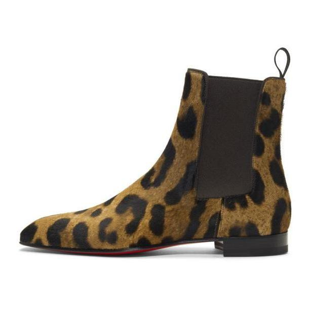 Christian Louboutin Brown Leopard Calf-Hair Roadie Orlato Flat Boots cover image