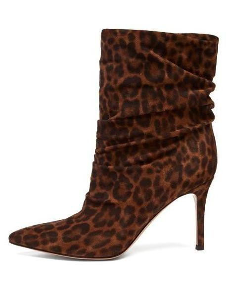 Gianvito Rossi - Cecile 85 Leopard Print Suede Ankle Boots - Womens - Leopard cover image