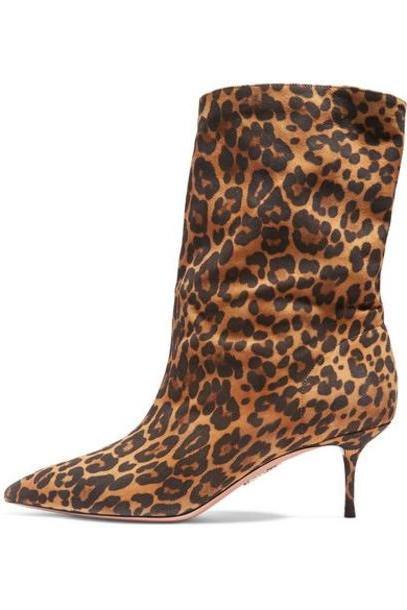 Aquazzura - Very Boogie 60 Leopard-print Suede Ankle Boots - Leopard print cover image