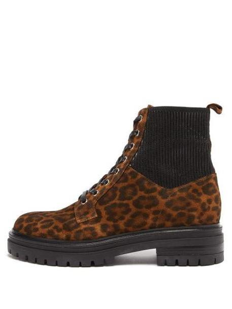 Gianvito Rossi - Martis Leopard Print Suede Ankle Boots - Womens - Leopard cover image